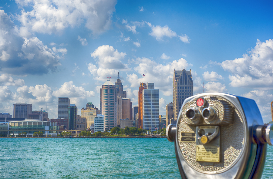 Binoculars overseeing Detroit city skyline from Windsor, Ontario