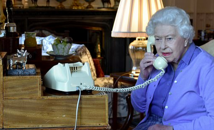 Queen Elizabeth 11 on a call with Prime Minister Boris Johnson